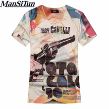 Man si Tun The Latest 2017 Summer Style 3D T Shirt Men Arrival Hip Hop Street Style Double Side Printed Slim Fit V-Neck T-Shirt(China)