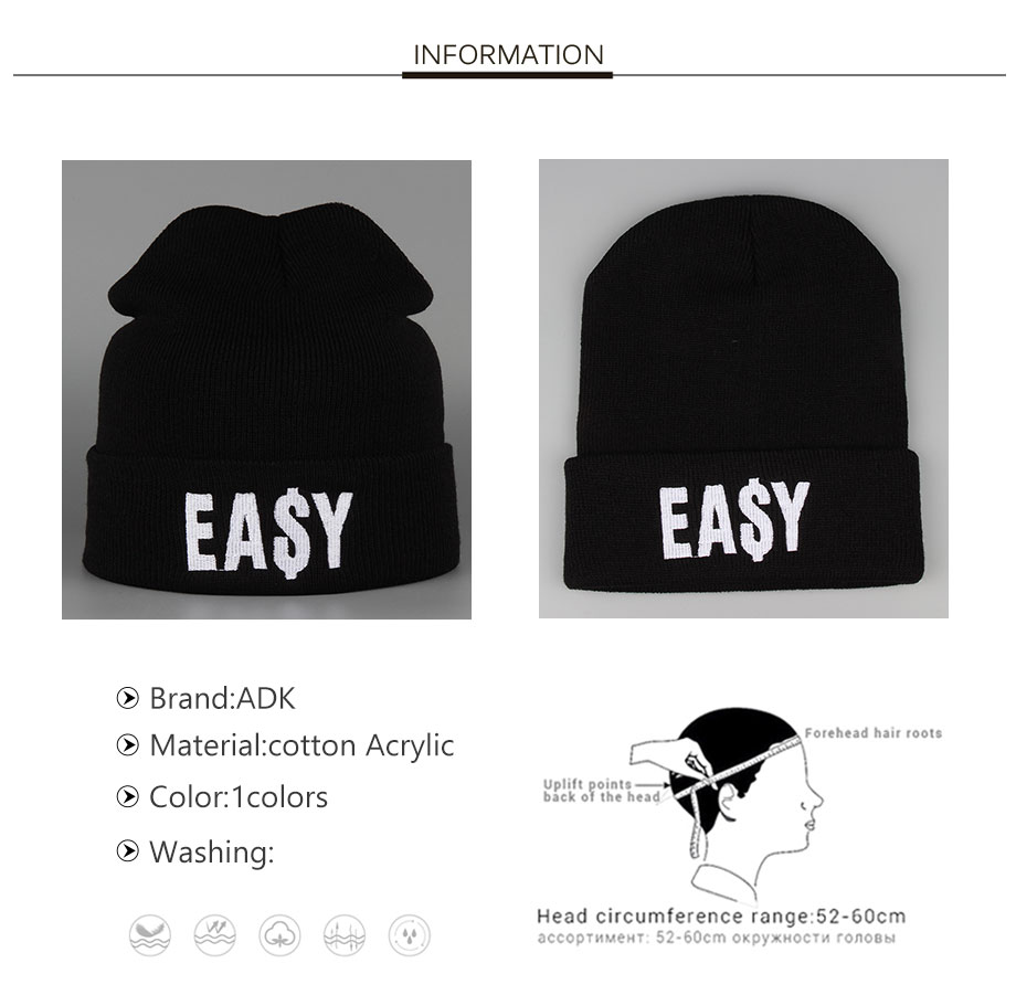 ADK Embroidery Men Women Black Cap Winter Warm 2018 New High Quality Brand Fashion Casual Hats Unisex #CAP188 (2)