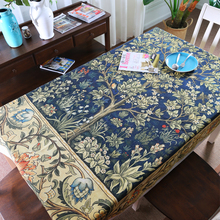 America Style Tree Leaves Tablecloth Cotton Linen Printed Tablecloth Flowers Customize Tablecloth