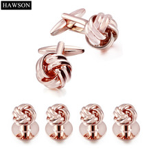 Hawson Mens Tuxedo Shirt Jewelry Twist Cufflink Stud Set Rose Gold Color Cuff links Button for Mens Wedding Dress(China)