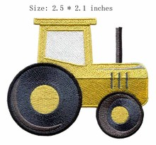 "Yellow truck 2.5""wide embroidery patch free shipping for big car/wheel/transport cart"