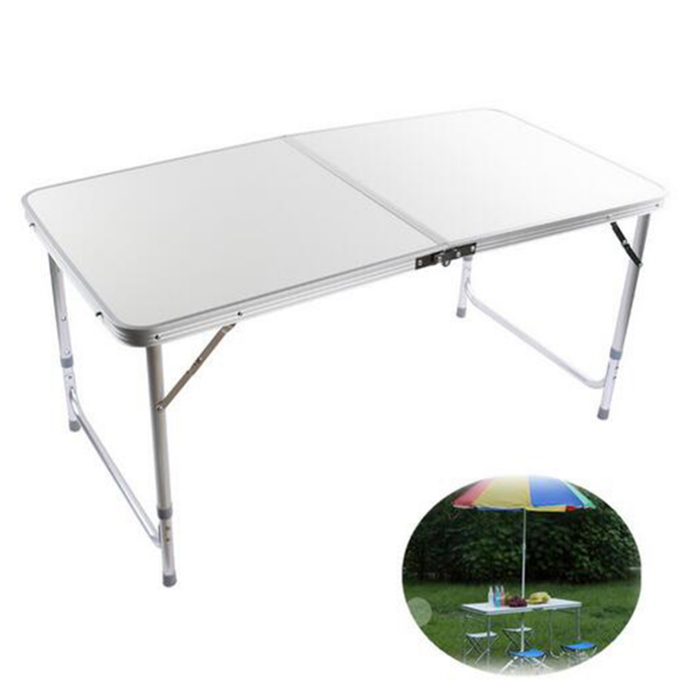 Silver Folding Picnic Table 4FT Aluminum Folding Portable Camping Aluminum Table Picnic Party Outdoor BBQ Dining Furniture(Hong Kong)