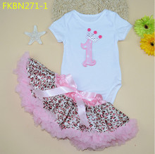 Baby short-sleeve 100% cotton hello kitty romper + leopard lace tutu skirt 2 piece set newborn clothes jumpsuit puff skirt set