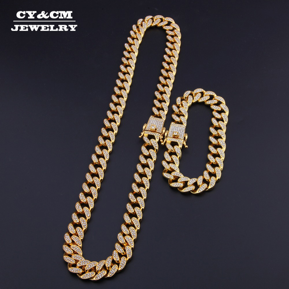 13mm Miami Cuban Link Chain Gold Silver Necklace Bracelet Iced Out Crystal Rhinestone Bling Hip hop for Men Jewelry Necklaces(China)