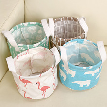 Retro Storage Basket Cotton linen Makeup Cosmetic Storage Bag Organiser Foldable Toy Container Storage Box