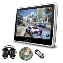 "10.1"" Auto Portable Monitor Car Headrest DVD Player 1024*600 Ultra-thin Touch Screen Game Removable Audio USB SD CD IR FM Pillow"