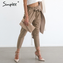 Simplee Apparel OL chiffon high waist harem pants Women stringyselvedge summer style casual pants female 2016 New black trousers(China)