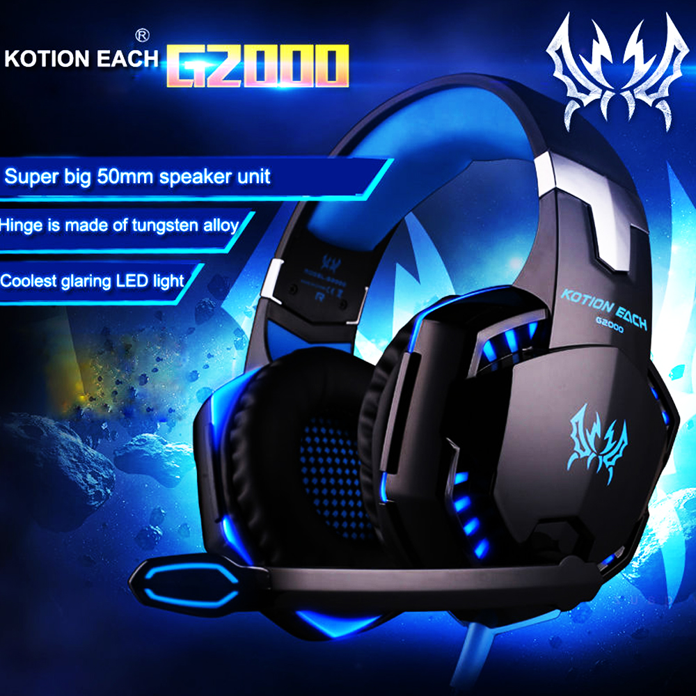 KOTION EACH G2000 Gaming Headset Wired Earphone Gamer Headphone With Microphone LED Noise Canceling Headphones for Computer PC