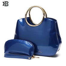 EB brand solid black blue red elegant vintage patent Leather women handbags totes top metal handle bags high quality