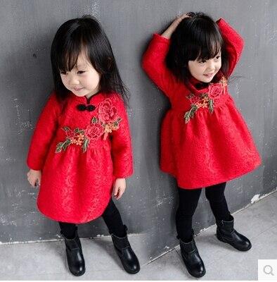 Winter in the New Year Flower Bud Silk Dress More Children With Velvet Dress Princess Dress<br><br>Aliexpress