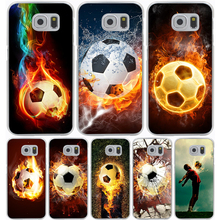 Fire Football Soccer Ball Hard Transparent Cover Case for Galaxy A3 A5 7 8 J5 J7 & Note 5 4 3 2 & Grand 2 Prime