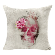 Flower Skull Series Cushion Totoro Punk Skull Indian style Cotton Linen Cushion Sofa Bedroom Home Euro Decorative Throw Pillow