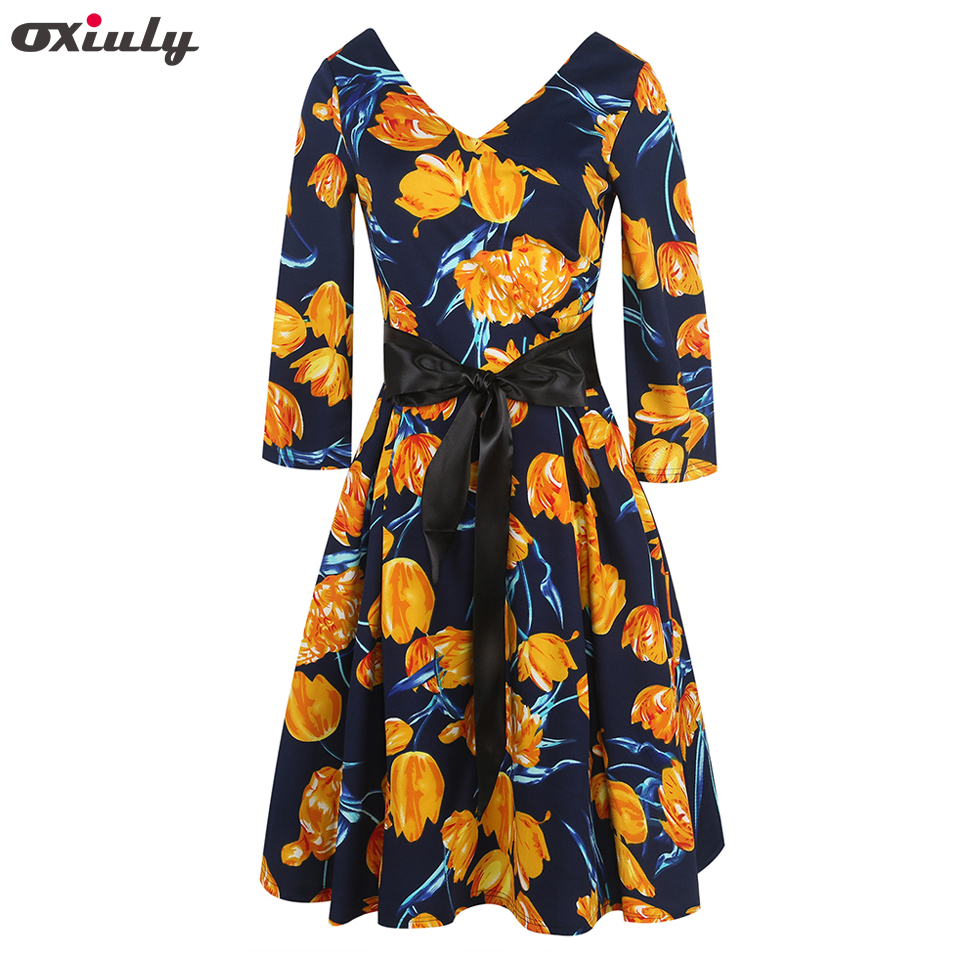 Black dress yellow sash - Oxiuly Yellow Flower Print V Neck Vintage Dress Women Loose 2017 Autumn Dresses Three Quarter A Line Dress With Black Belt
