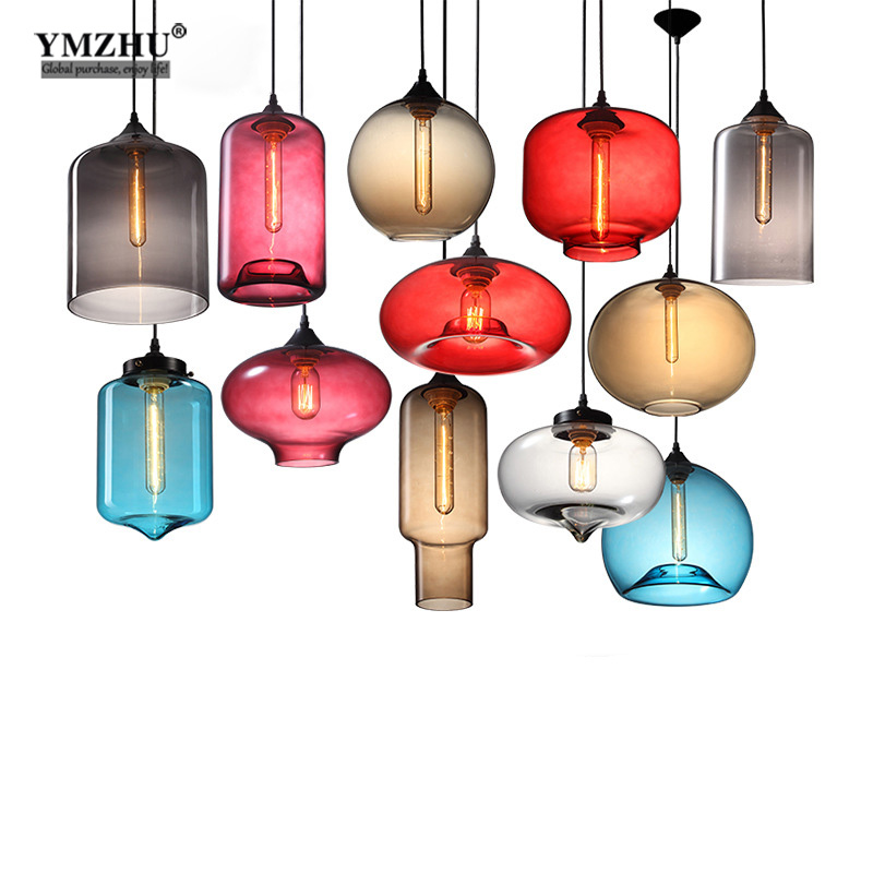 Creative simple art retro glass chandeliers modern simple restaurant coffee bar bar chandeliers American village lights<br>
