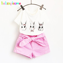 Summer Fashion Children Clothing Cartoon Rabbit Design T-shirt+Shorts 2pcs set Baby Girls Outfits Toddler Clothes 0-7Year BC1305(China)