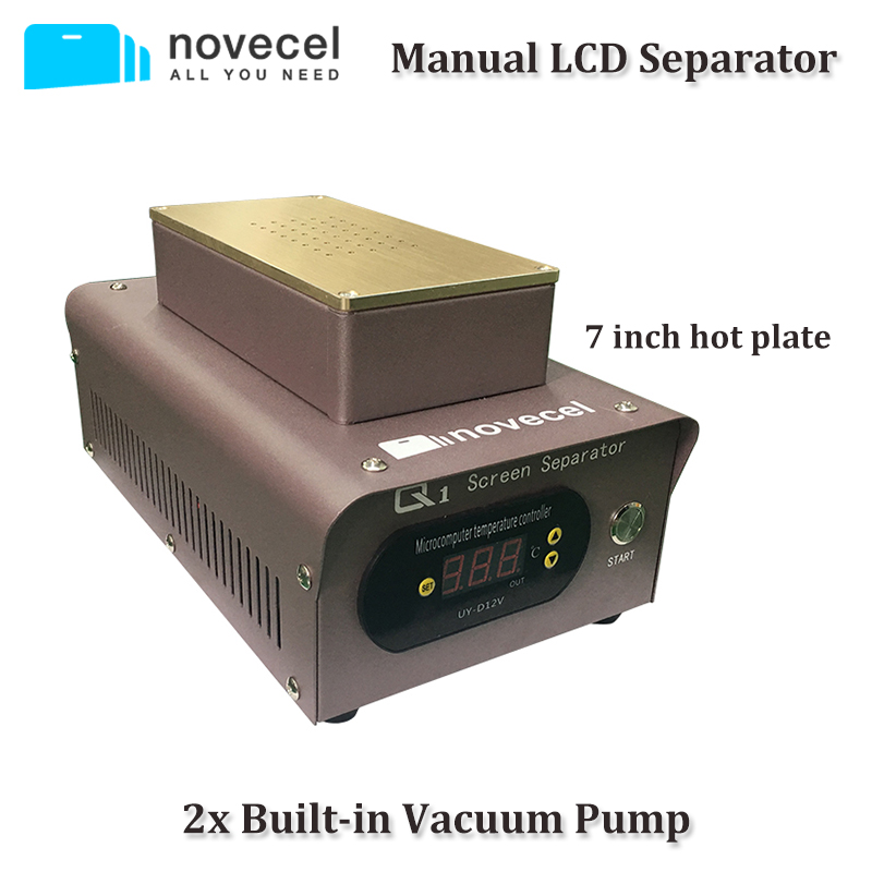 NOVECEL 110V/220V 7 inch LCD Separating Manually Operated Machine Two Build-in Pump Hot Plate to Separate Glass for Cellphone