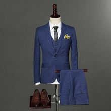 2018 High Quality Mens Fashion England Style Slim Fit Suits Male Three pieces Single Button Plaid Formal Set Blazer+Pant+Vest(China)