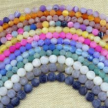 Fashion beads Matt Frosted Color Beads Crackle Fire Agate Bead Round Stone 6 mm 8 mm 10mm 12 mm Pink Green Blue Gold Color etc