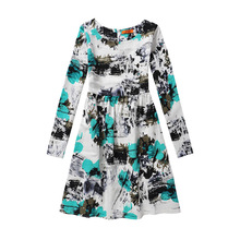 Hot Selling explosion Autumn printed children's dress long-sleeved flower cotton and linen princess dress(China)