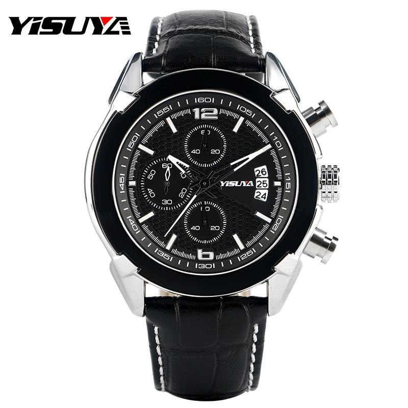 YISUYA Luxury Brand Military Watches Men Quartz Chronograph Leather Clock Man Sports Army Wrist Watch Relogios Masculino<br><br>Aliexpress