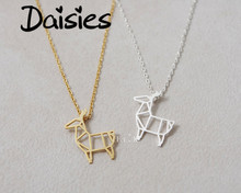 Daisies Fashion Cute Origami Deer Necklace Baby Deer Pendant Necklace Fawn Bambi Statement Necklace for Animal Jewelry
