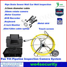 9inch monitor 60 meter 9mm cable Pan Tilt 360 rotation pipeline drain inspection camera meter counter keyboard recording camera