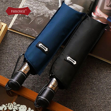 Hot Sale Quality Brand Umbrella Men Fully Automatic Three Folding Leather Handle Windproof Folding Umbrellas Japanese Paraguas(China)