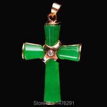 Imitation Green Jades Cross Bead Gem Pendant 1PCS 26X38MM