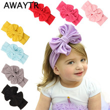 1 PCS Children Girl AWAYTR Big Bows Girls Headband 1 Pcs White Red Elastic Bows Headbands Hair Bands Kids Hair Accessories(China)