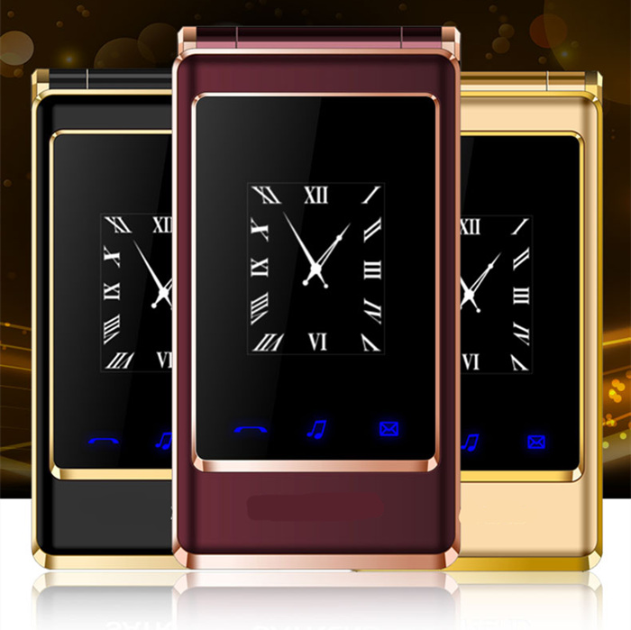"Flip dual screen 3.0"" original flip russian keyboard cheap senior touch mobile phone Phone Elder clamshell Cell phones H-mobile(China)"
