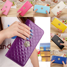 Women Long Wallet Crown Purse Bag With Coin Bags Plum Flower Clutch Wallets Phone Handbag WML99