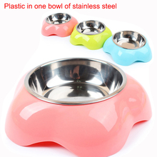 New hot dog Bowl Pet Tableware flower Pattern solid Pet Dog Feeder Plastic Stainless Steel Bowls for cats Goods for pets