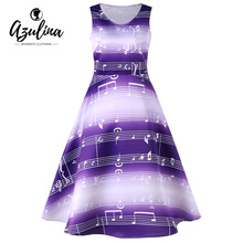 Buy AZULINA Music Notes Print Sleeveless 1950s Swing Midi Dress 2017 Women Fall Spring Summer Retro Vintage Rockabilly Dresses for $13.99 in AliExpress store