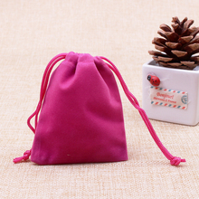 50pcs/lot Hot Pink Color Velvet Bags 7x9cm Pouches Jewelry Coin Earring Packing Bags Candy/Wedding Gift Bags Free Shipping(China)