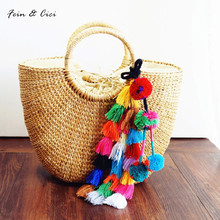 beach bag straw totes bag bucket summer bags with tassels women handbag braided 2017 new high quality tassel Rattan Bag