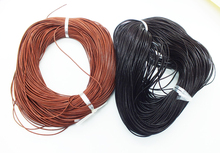 Free delivery 100 meter high quality 1MM brown leather rope(China)