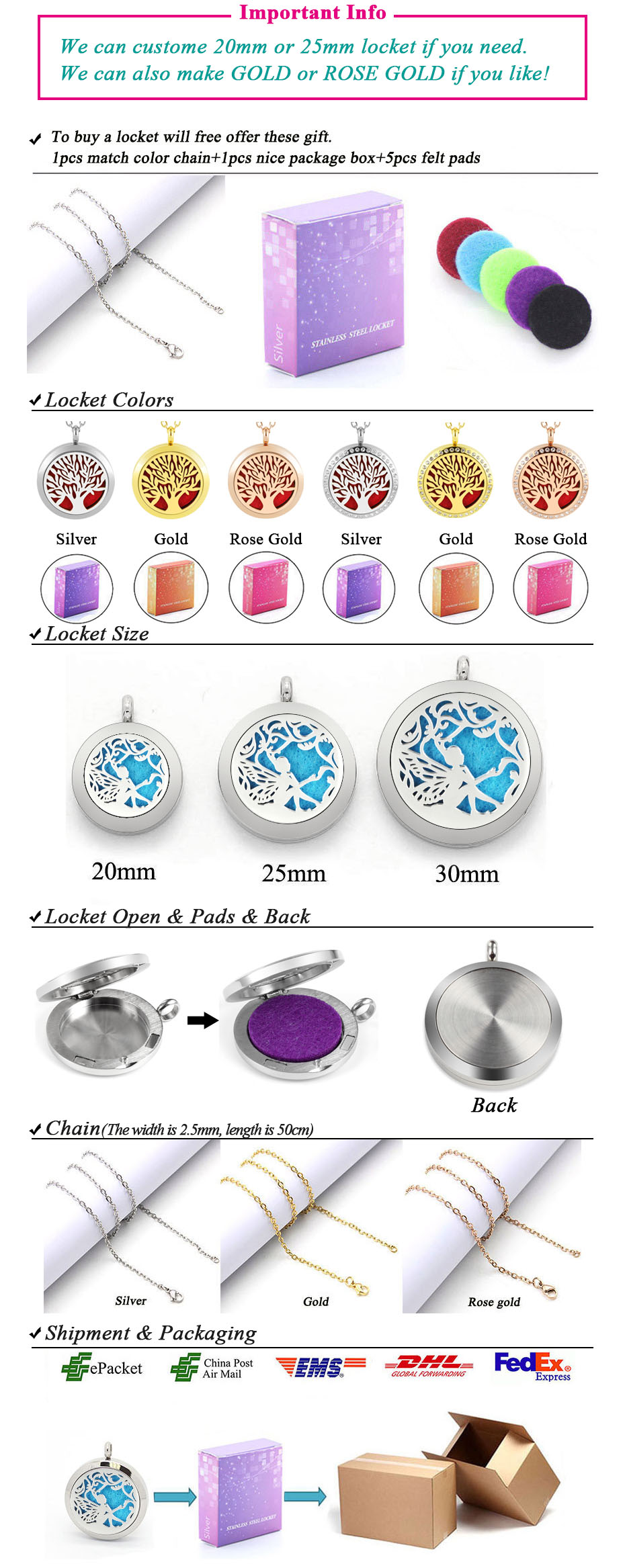 fair diffuser necklaces silver gold rose gold 20mm 25mm 30mm locket jewelry -219 (7)
