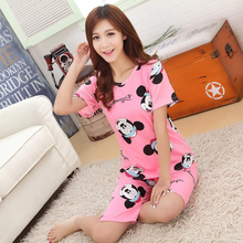 19 Styles 2017 Summer 100 % High Quality Hello Kitty Duck Mickey Cartoon Cute Pyjamas Pajamas For Women Home Clohtes Sleep Wear