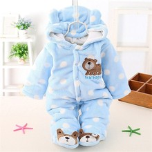 2016 New Baby Winter Romper Cotton Padded Thick Newborn Baby Girl Warm Jumpsuit Autumn Fashion baby's wear Kid Climb Clothes(China)