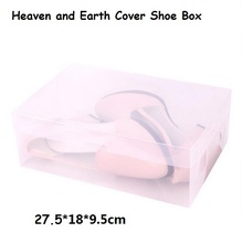 8pcs/lot Heaven and Earth Cover Storage Box House Organizer Transparent Clear Plastic Shoe Box Stackable Foldable 27.5*18*9.5cm