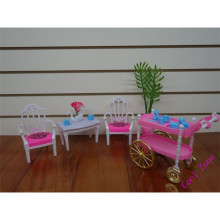 Miniature Furniture Armchairs Coffee Table and Serving Cart for Barbie Doll House Free Shipping(China)