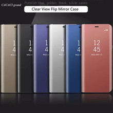 Luxury Case For iPhone x Clear View Flip phone Cases Electroplating Mirror Cell Phone Case For iPhone x Flip Cover Coque Fundas(China)