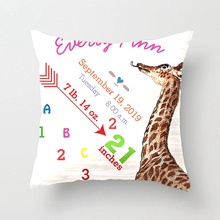 Baby Birth Stats Cute Giraffe Heart & Arrow Wedding Decorative Cushion Cover Pillow Case Customize Gift For Car Sofa Pillowcase
