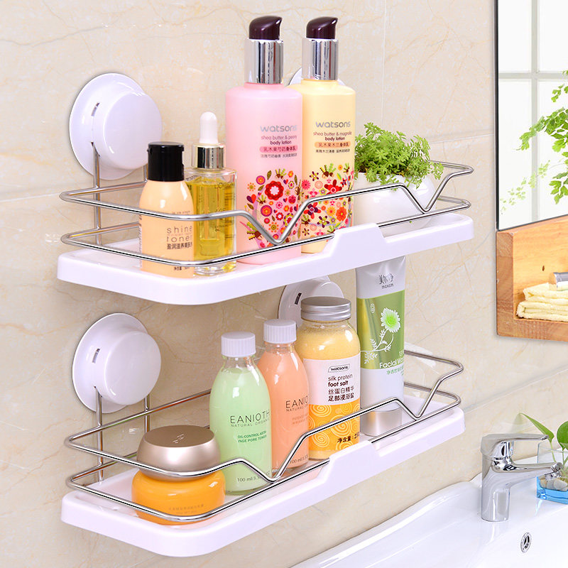 Double Sucker Wall hanging Shelf daily necessities Cosmetic shower gel holder for Kitchen Bathroom Organize storage racks<br>