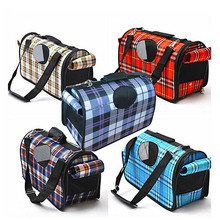 Factory Price Big Size Plaid Folding Slings Pet Dog Travel Bags Pet Carriers Three Size Offer, Pet Bags-002