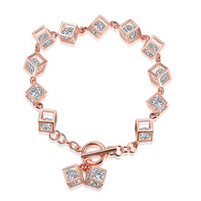 PANDULASO Sterling-Silver-Jewelry Rose Golden Cubes Bracelets Crystal Clear CZ for Women Fashion Bracelets Silver 925 Jewelry