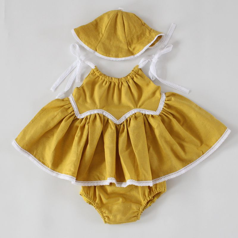 Rustic Baby Girls Clothing Mustard Yellow Baby Birthday Outfit Linen Baby Swing Top Bloomer Set ,Baby Girls Swing Dress with hat<br><br>Aliexpress