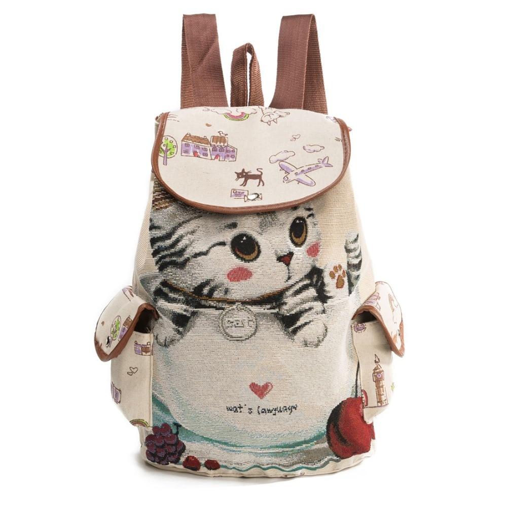 Lovely Cute Kids School Bags Jacquard Cat Pattern Canvas Backpack Mini Baby Toddler Book Bag Kindergarten Rucksacks Little Child<br>