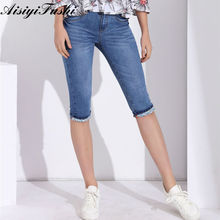 Buy Capris Jeans Elastic Women'S Knee Length Pants Denim Shorts Women Clothes Plus Size Jeans Stretch Pencil Skinny Pant for $14.78 in AliExpress store