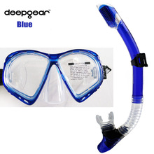 DEEPGEAR SCUBA DIVING MASK SNORKEL SET Clear silicon scuba mask dry snorkel diving gears Top watersport swim and dive equipment(China)